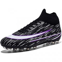 LGL Men Soccer Boots with Cleat Breathable Football Shoes Ankle for Outdoor Running Walking Athletic