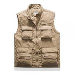 AOYOG Mens Multi-Pockets Outerwear Vest for Work Outdoor Sports Fishing Hiking Camping Hunting