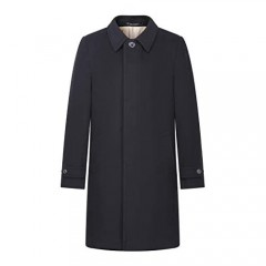 AIYIMEI Men Wool Cashmere Coat Men's Long Classic Shirt Collar Single Breasted Concealed Front Wool with Cashmere Overcoat (Large)